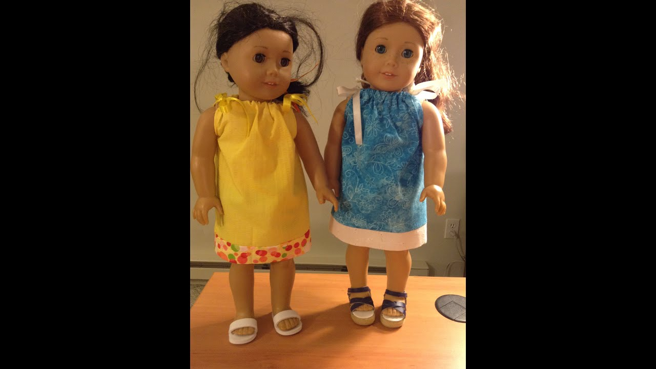 Doll Dress for American Girl Doll (No Pattern) - YouTube