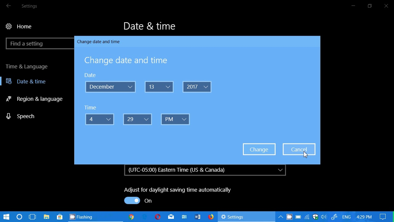 Windows 10 Fall Creators update Time Zone Date Time settings where to  change them