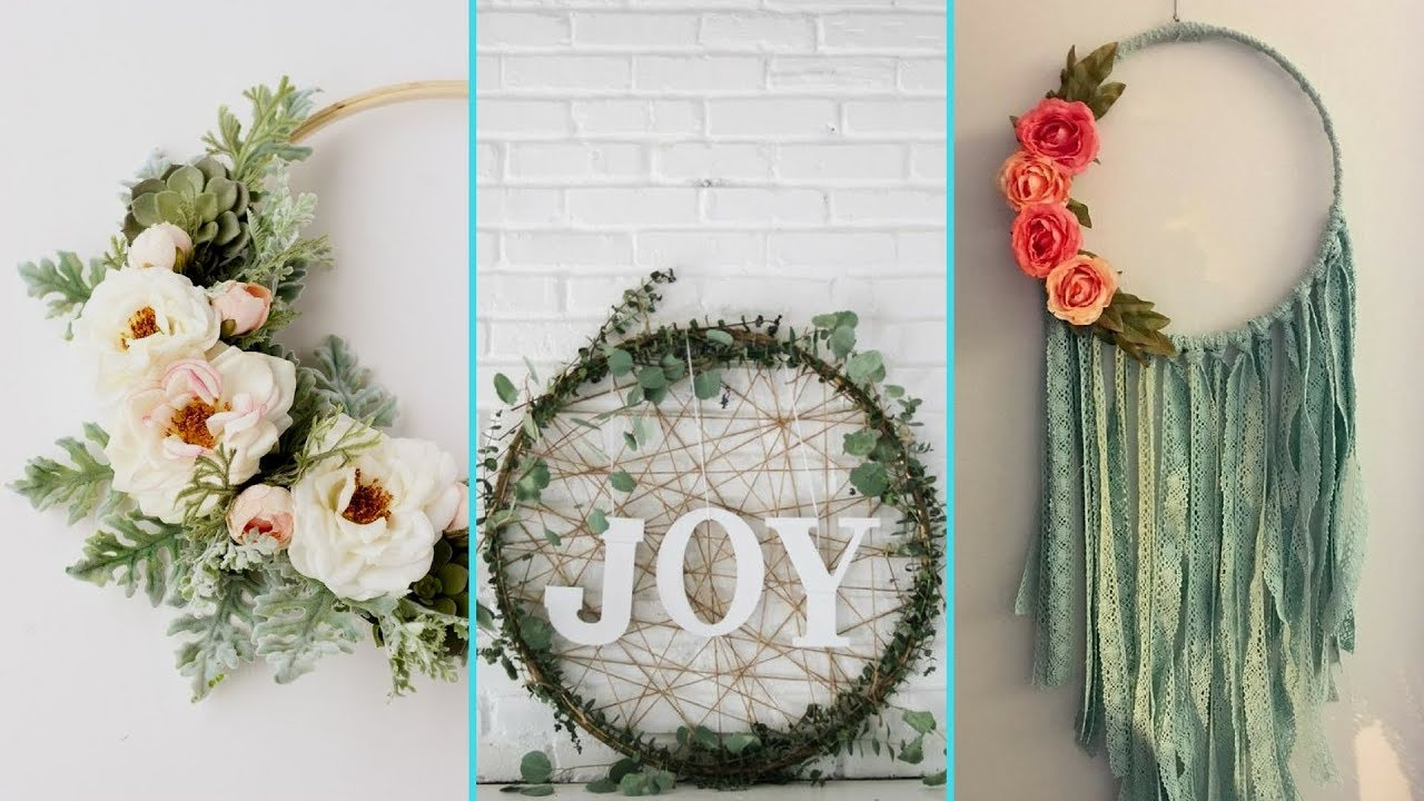 Diy shabby chic style hula hoop wreath decor ideas home for Hula hoop decorations