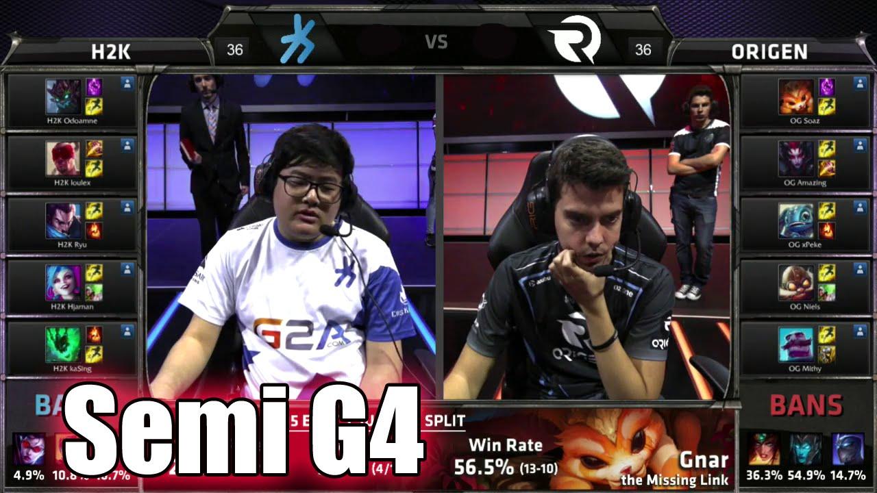 Origen Vs H2k Gaming Game 3 Semi Finals S6 Eu Lcs Spring