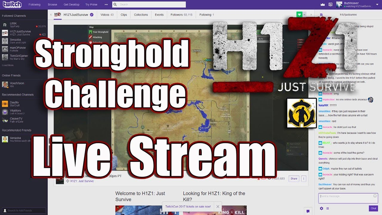 h1z1 live stream stronghold challenge bwc release this week on live youtube. Black Bedroom Furniture Sets. Home Design Ideas
