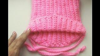 Вязание крючком для начинающих вязаная кото -шапка  для ребенка 6 мес