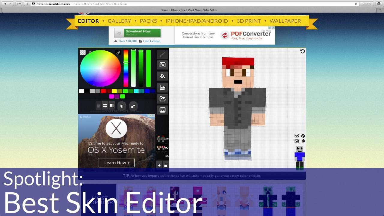 Spotlight Best Skin Editor YouTube - Minecraft skins download fur pc