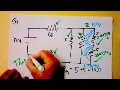 Parallel and Series Resistor Circuit Analysis Worked Example using Ohm's Law Reduction | Doc Physics