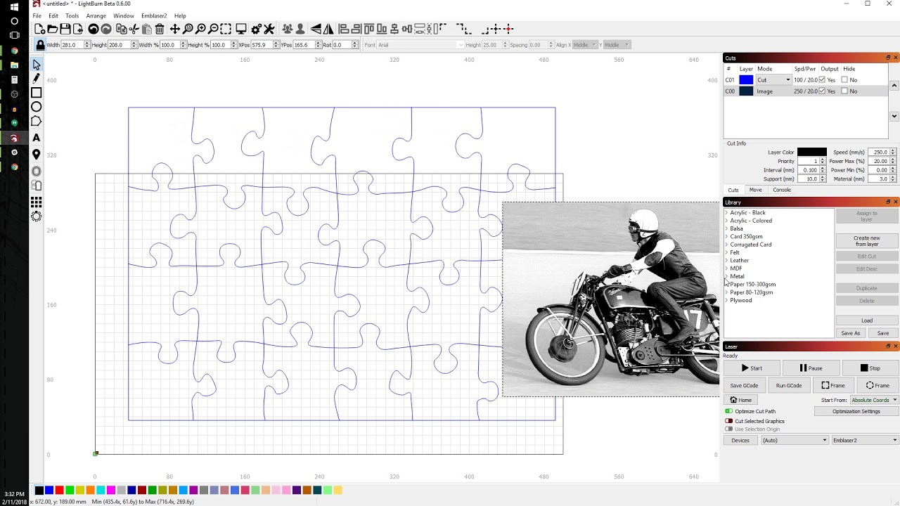 LightBurn Lesson 2: Jigsaw Puzzle – Darkly Labs Support