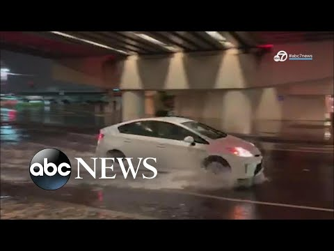 Dangerous storms hit fire-ravaged parts of California