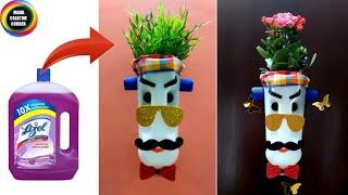 Recycle waste plastic bottles at home #waste material craft #Bestoutofwaste Lizol bottle craft #DIY