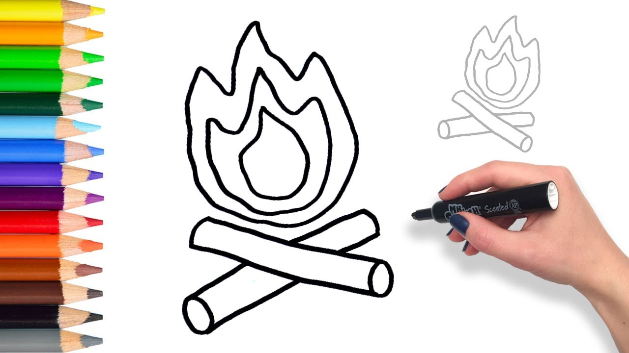 Learn to draw a Campfire Teach Drawing for Kids and Toddlers