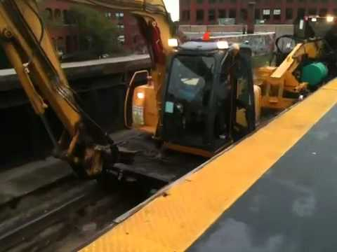 MBTA / MBCR track work equipment at Lynn Station Sept. 4 20