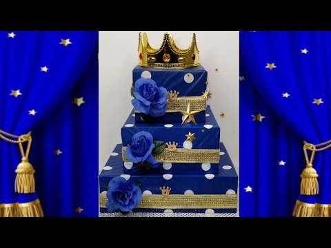 Royal Prince Baby Shower Idea Part 1 / Blue And Gold Box Cake Centerpiece