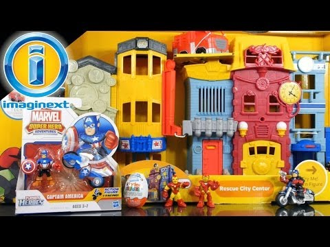 Imaginext Rescue City Center Playset + Kinder Suprise + Captain America Toys - Disney Cars Toy Club