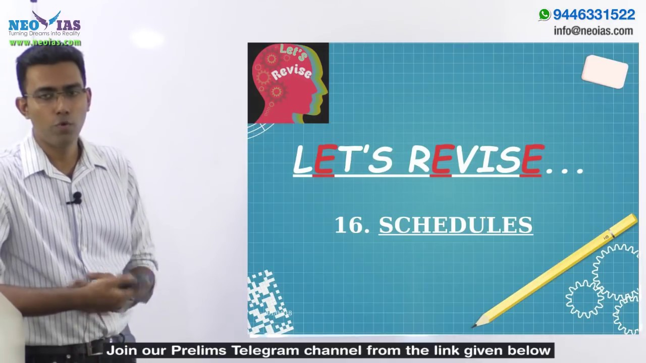 16  SCHEDULES   LET'S REVISE SERIES   INDIAN POLITY   NEO IAS
