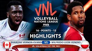 Canada vs Poland | VNL 2021 | Highlights | Sharone Vernon-Evans vs Wilfredo Leon Venero