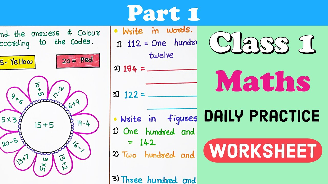 small resolution of Part #1 । Class 1 Maths Worksheet । DIY worksheets । Maths worksheet for class  1 । class 1 maths - YouTube