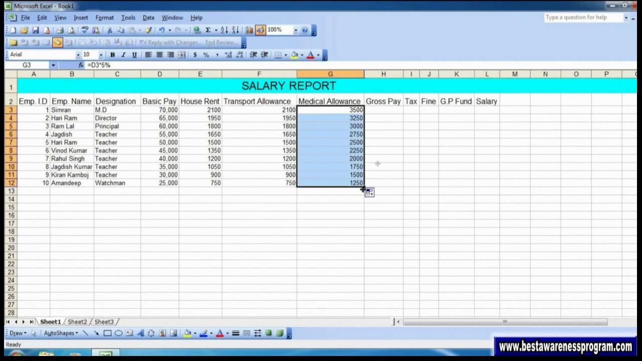 salary report in excel trasnport allowance in excel tax fomula in salary report in excel trasnport allowance in excel tax fomula in excel g p fund in excel
