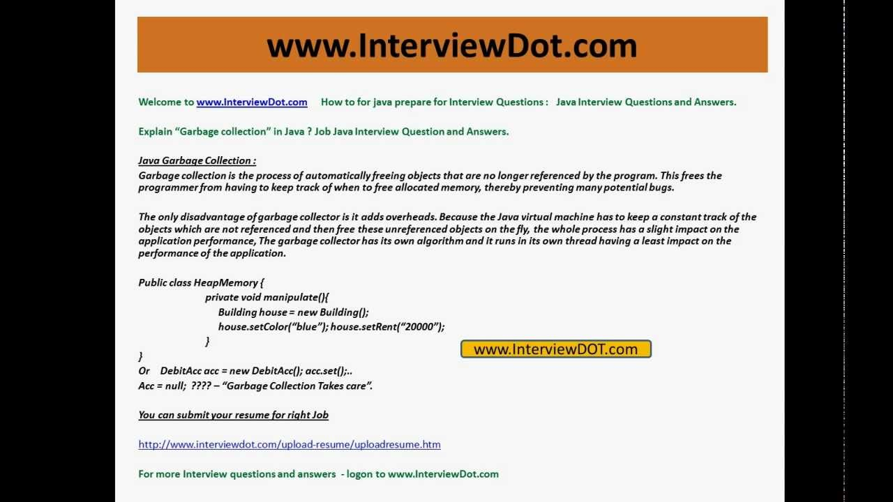 Delightful Explain Java Garbage Collection Job Interview Question And Answer YouTube