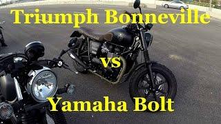 triumph Bonneville T100 vs Yamaha XV950 Bolt. Битва кафе рейсеров