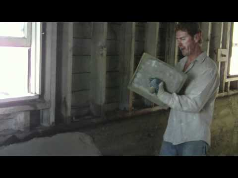 Repair interior basement foundation walls with cement plaster parging youtube for Parging interior basement walls