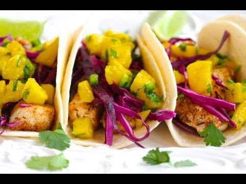 Taco Recipe: Fish Taco with Mango Salsa by CookingForBimbos.