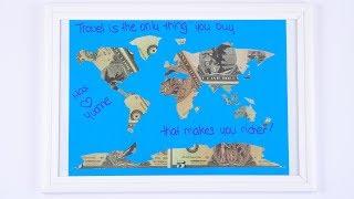 WEDDING money gift for HONEYMOON: World Map out of Dollar Bills