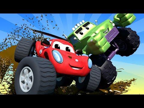 Monster Trucks Cartoons For Children Trucks & Cars Videos For Kids ! Monster Town Car City LIVE!