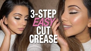 🔪 EASY 3-step Cut Crease Tutorial + GLITTER Cut Crease 🔪