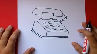 Como dibujar un telefono paso a paso | How to draw a phone