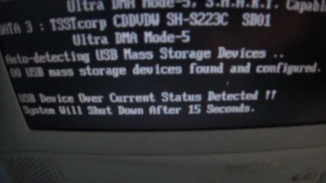 Usb devase over current detected
