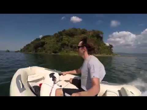 Boating on Taal volcano lake, Luzon Island, Philippines