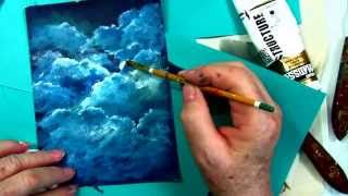 How to Paint Clouds tutorial, free  step by step cloud tutorial by : Ginger Cook