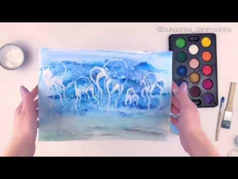 Рисуем красивых медуз и море вместе с детьми