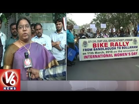 Women's Day: TS Legal Service Authority Members Conducts Bike Rally In Hyderabad | V6 News