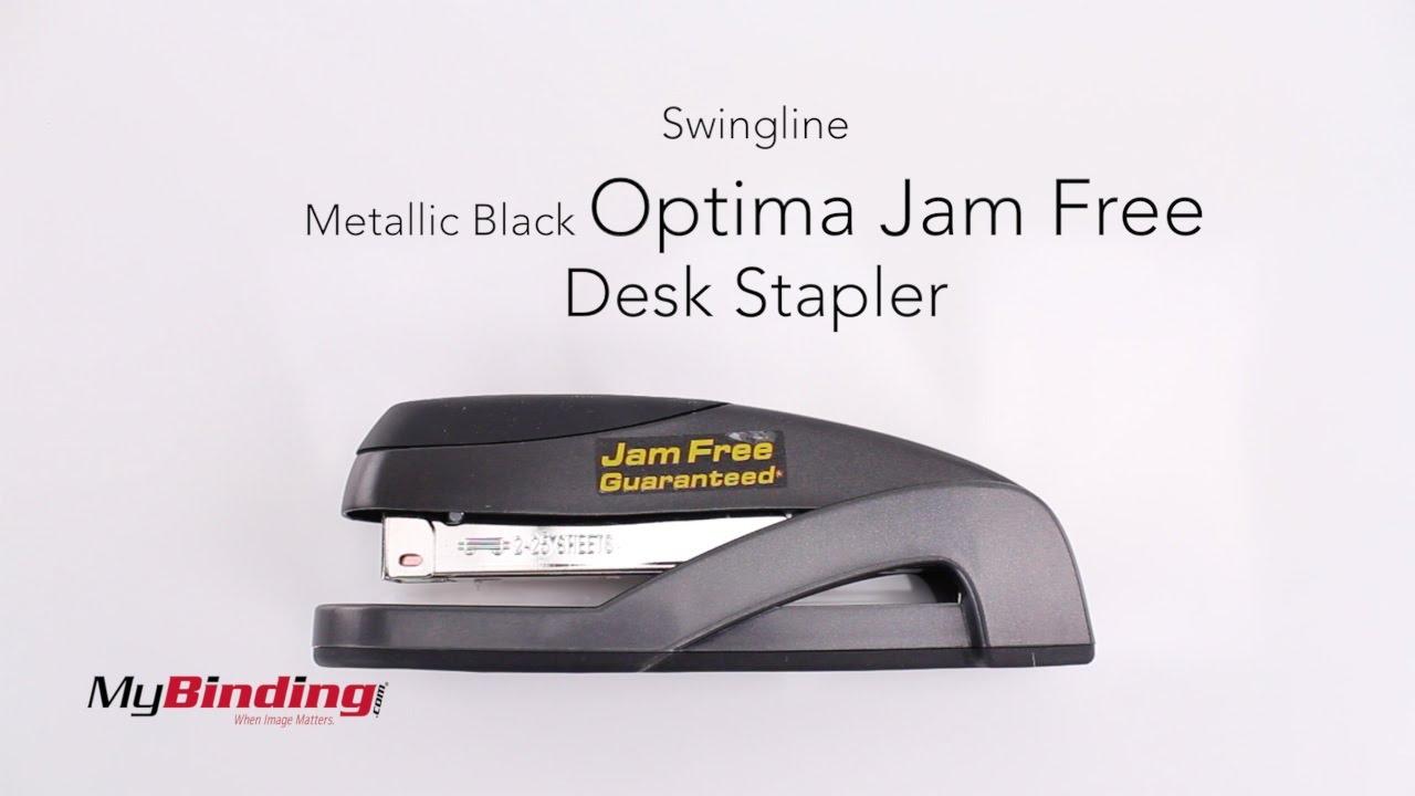 Swingline Metallic Black Optima Jam Free Desk Stapler