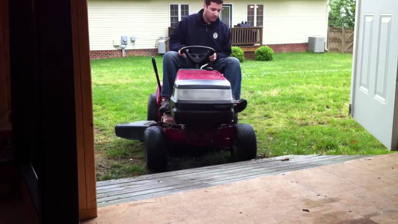 Mower Shed Ramp Fail - YouTube