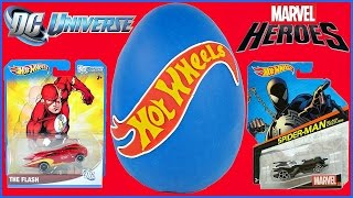 GIANT PLAY DOH SURPRISE EGG HOTWHEELS AND SUPERHEROES DC MARVEL FLASH SPIDER-MAN