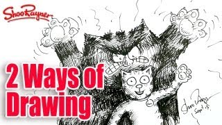 Two ways of drawing - The Ginger Ninja & Tiddles