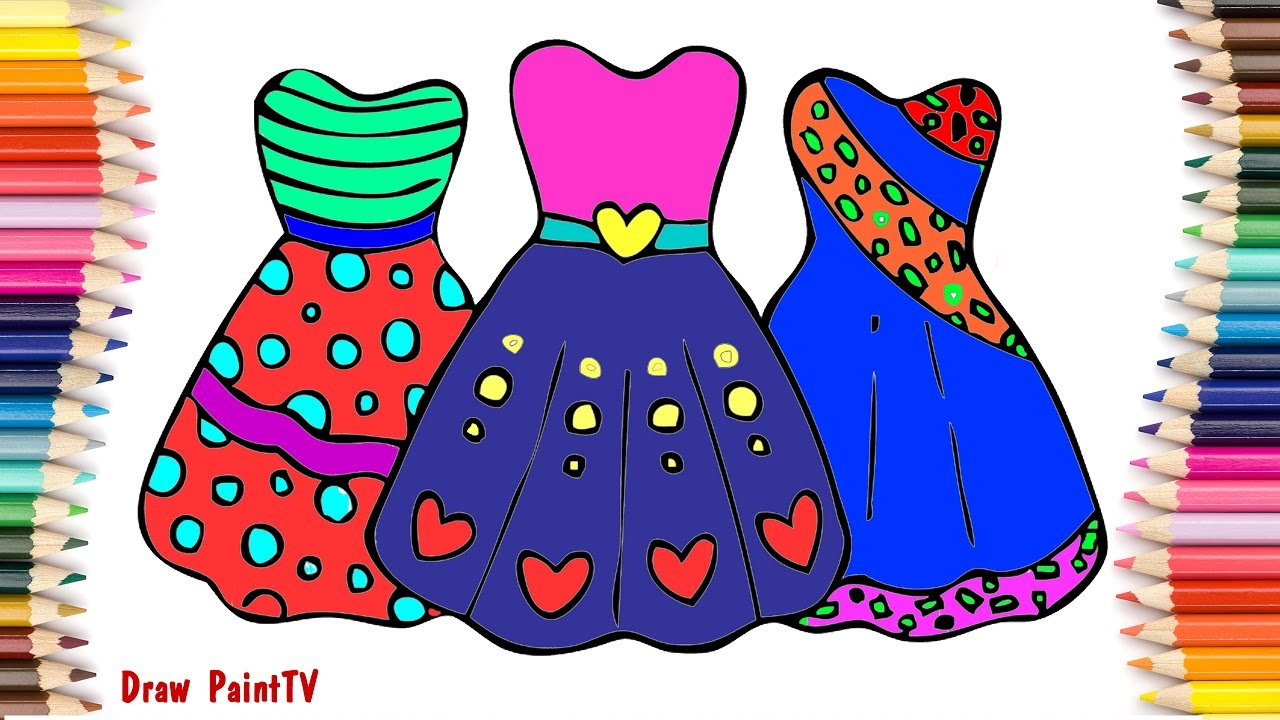 Baby Coloring Girls BARBIE Dress | Coloring page video for ...