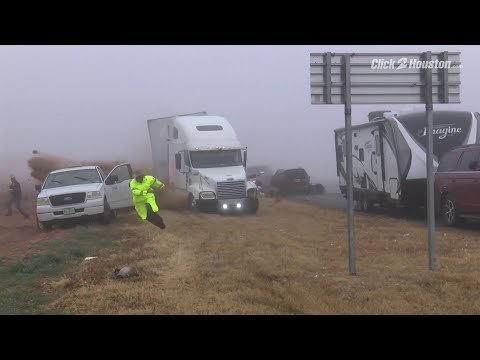 INSANE VIDEO: Semi-truck Involved In Pileup In Foggy Lubbock County Friday