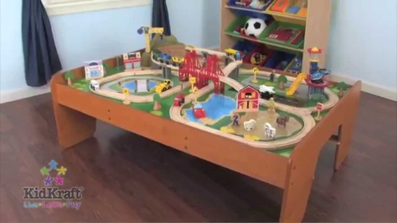 KidKraft Ride Around Town Wood Train Table U0026 Toy Set | 17836   YouTube