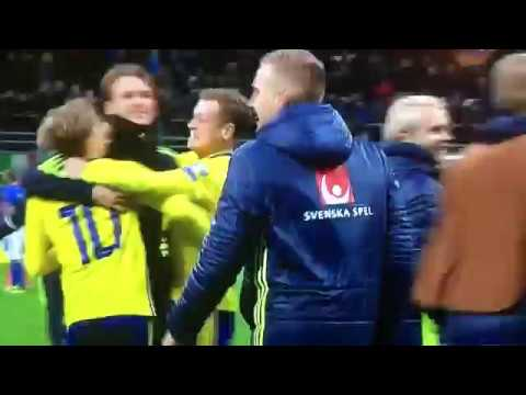 Swedish players celebrates their qualification for the World cup 2018