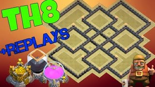 Clash Of Clans Th8 Farming Base 2016 Anti Everything Anti Dark Anti Giant Anti Loot With Replays