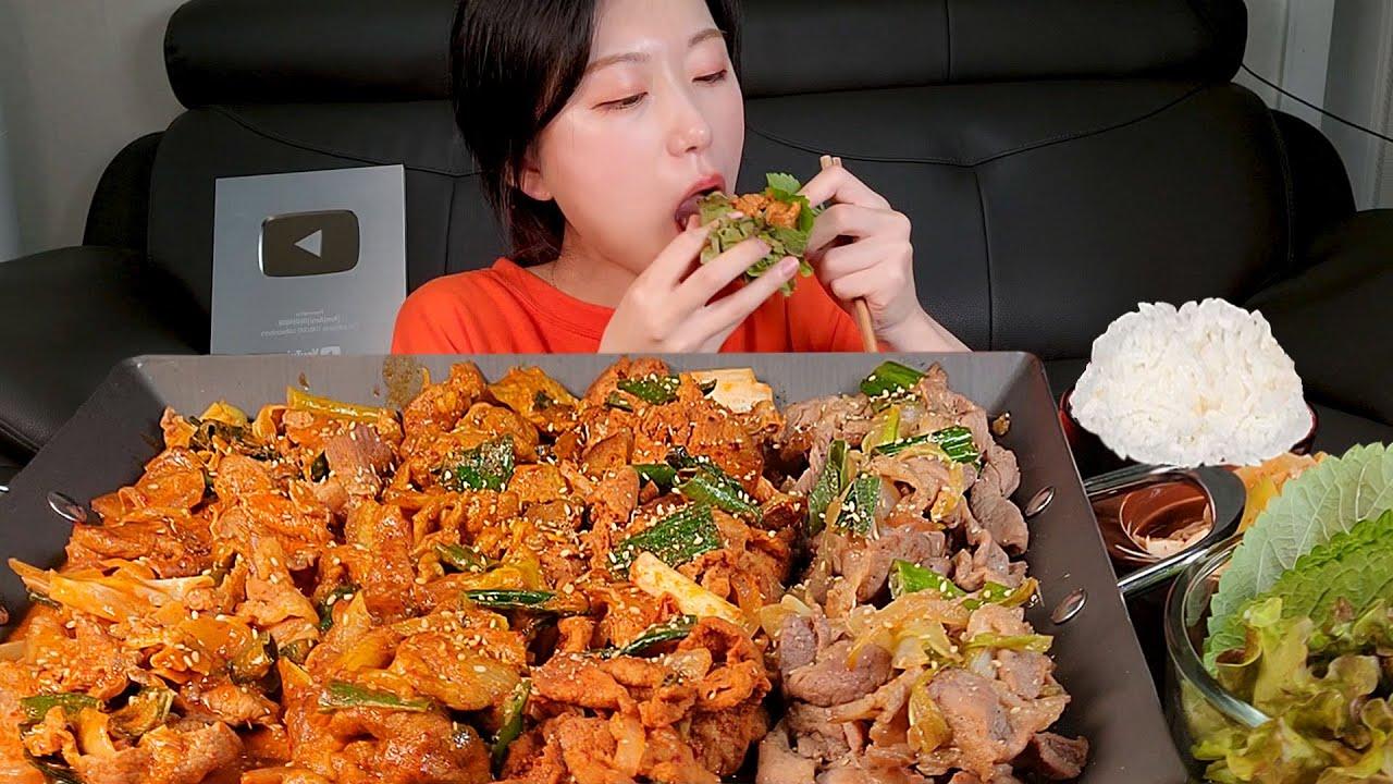한국인의 밥상 제육볶음 쌈 된장찌개 쌀밥🍚 한식먹방 :) The representative Korean food of Korea Mukbang