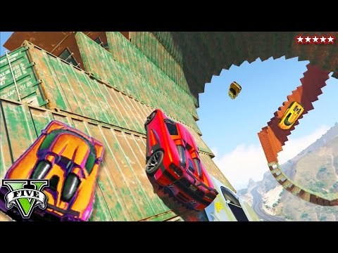 GTA 5 Monster Spiral Fort & The BIGGEST Explosive Ramp EVER!! RACES w/The Crew (GTA 5 Funny Moments)