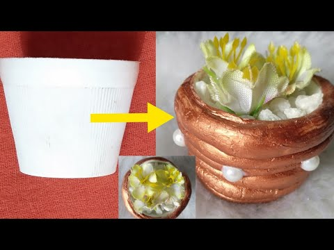 Diy//how to make miniature flower pot with waste material#diy#craft#world of creations#youtube
