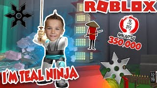 I'M TEAL NINJA ASSASSIN in ROBLOX! / 350,000 NINJUTSU REACHED!