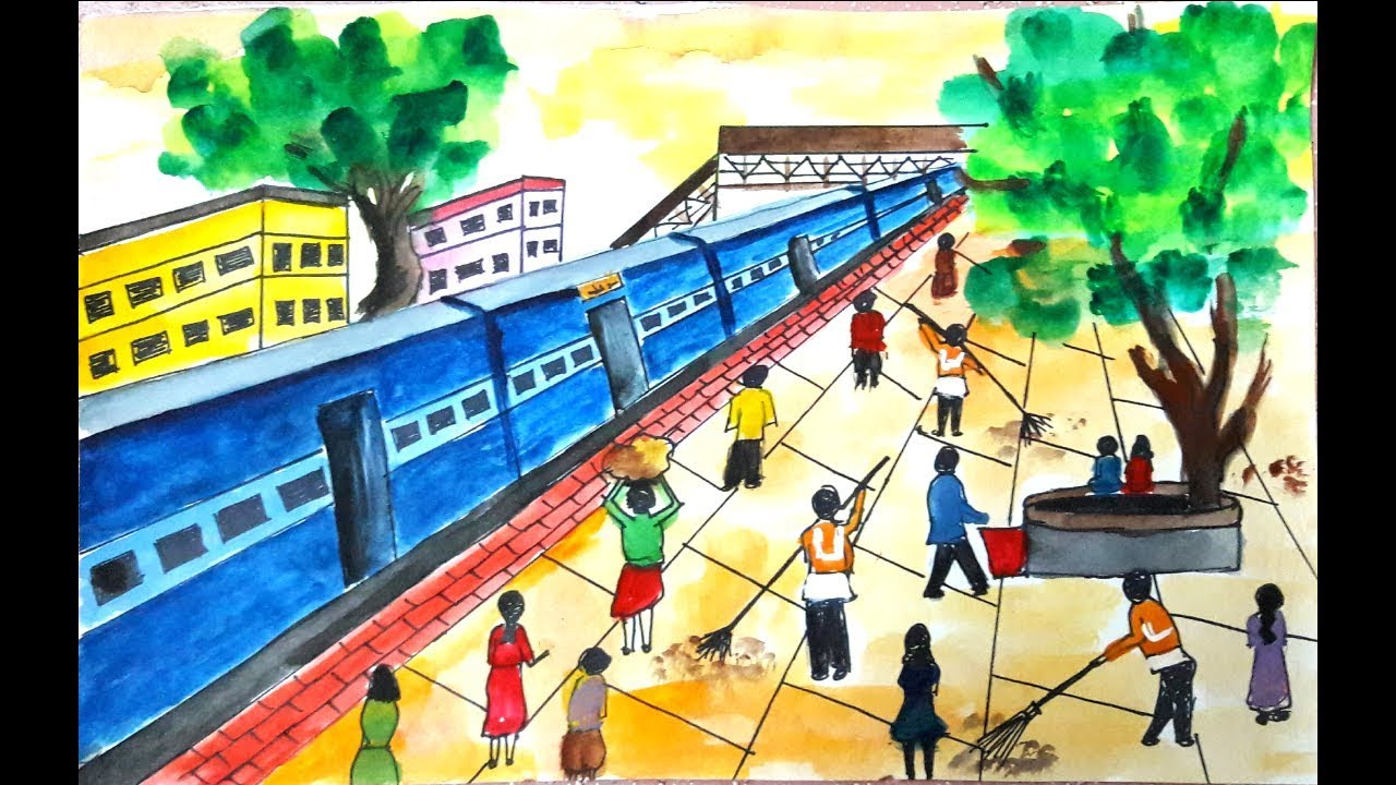 Swachh bharat abhiyan drawing railway station drawing clean india mission drawing