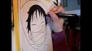 Comment dessiner Luffy (enfant) - How to draw kid Luffy (One Piece)
