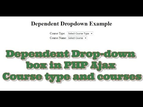 How to display dependent dropdown | dynamic dropdown box in php