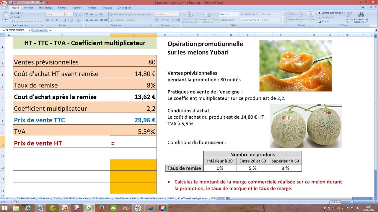Coefficient multiplicateur - TVA - Marge commerciale - Exercice commenté - YouTube