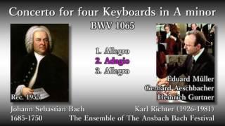 Bach: 4 Keyboards Concerto (BWV1065), K. Richter (1955) バッハ 4台チェンバロ協奏曲 リヒター